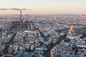 Skyline of Paris at sunset