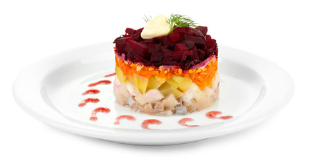 Russian herring salad on plate isolated on white