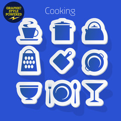 Sticker icons of Cooking