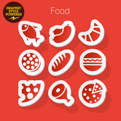 Sticker icons of food and cooking