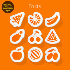 Sticker icons of fruits and vegetables.
