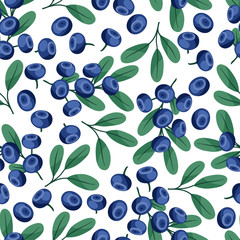 Seamless nature pattern with blueberries.