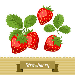 Set of various stylized strawberries.