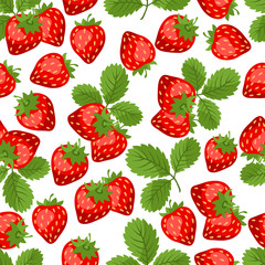 Seamless nature pattern with strawberries.