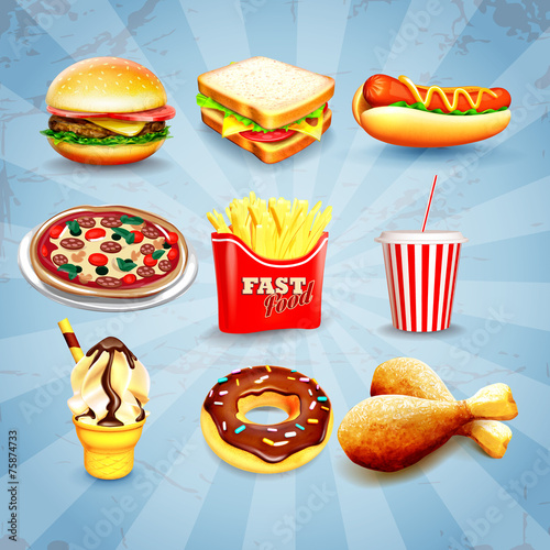 Papiers peints Snack icons fast food