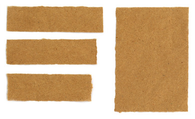 Brown papers over white background