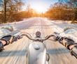 Biker First-person view. Winter slippery road - 75875955