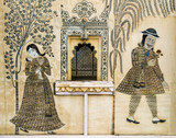Fototapety Romantic fresco painted in City Palace, Udaipur, India