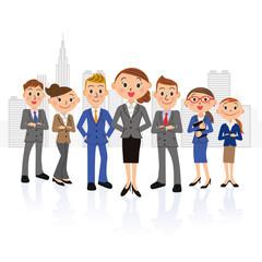 女性中心の実業家グループとビル