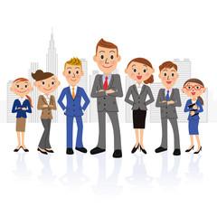 男性中心の実業家グループとビル