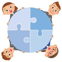 パズルで連結する会社員