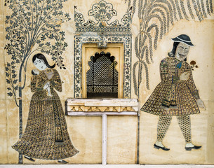Romantic fresco painted in City Palace, Udaipur, India