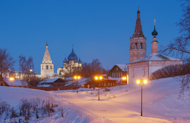 Winter landscape in the old Russian town Suzdal.