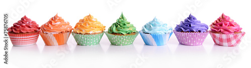 Foto op Aluminium Dessert Delicious cupcakes isolated on white