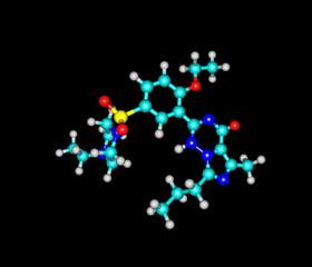 Vardenafil molecule isolated on black