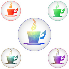 Coffee cups icons. Raster