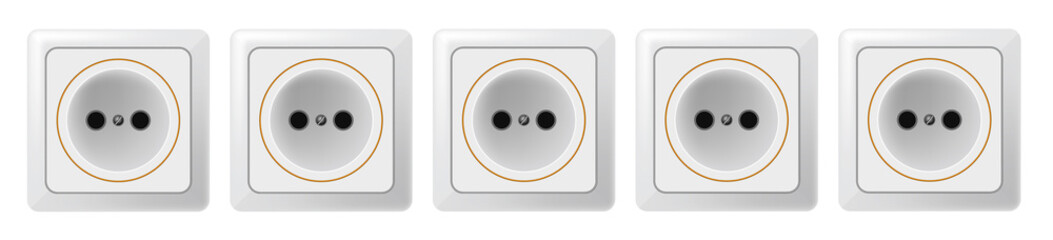Five white sockets on a white background. Raster