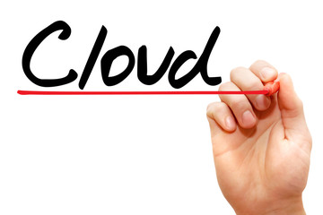 Hand writing Cloud with marker, business concept