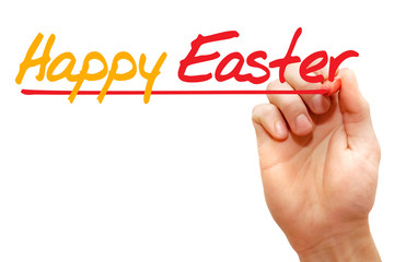 Hand writing Happy Easter with marker, concept