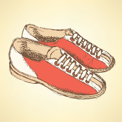 Sketch bowling shoes in vintage style