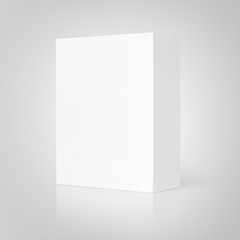 Blank white cardboard box on gray background with clipping path