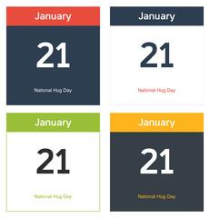 4 isolated calendar sheets for National Hug day