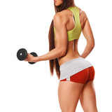 Sexy athletic woman with dumbbells. Sexy ass in thong, isolated