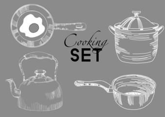 My kitchen Watercolor vector kitchen background set