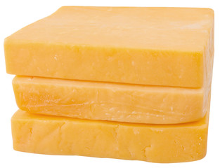 3 slices of cheddar. isolated on white background.