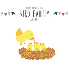 Mother bird find food to feed baby birds. (white background)