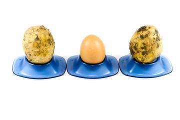 Frisches Braunes Ei mit Kartoffeln