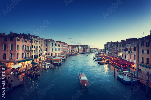 canvas print picture Grand Canal in sunset time, Venice, Italy