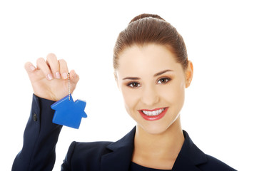 Woman holding a keychain