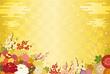 金色の背景と満開の花