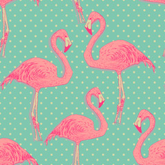 seamless flamingo bird pattern. hand drawn vector