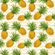 Hand drawn seamless pattern with pineapple in vector - 75879355