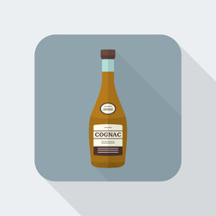 vector colored flat design cognac bottle icon with shadow.