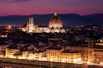 Florence, Cathedral of Santa Maria del Fiore on a sunset
