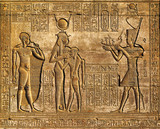 Hieroglyphic carvings in ancient egyptian temple - 75879915