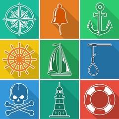Set of flat nautical icons