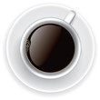 Coffee cup top view on white background