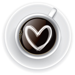 Coffee cup Love, Top view on white background