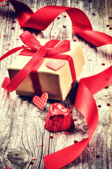 Valentine's setting with gift box