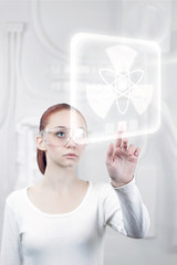 female scientist working in the futuristic laboratory