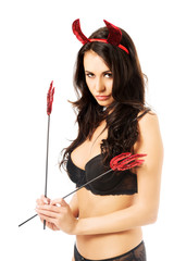 Portrait woman in lingerie with tridents and horns