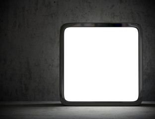 pannello luminoso con sfondo in cemento