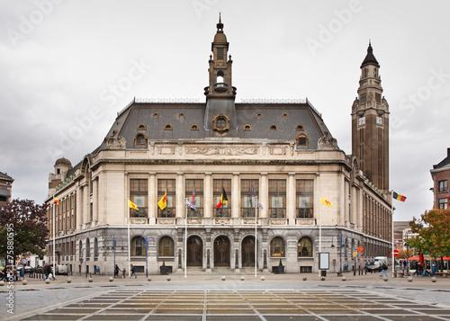 Leinwanddruck Bild Charleroi city hall . Belgium