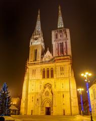Zagreb Cathedral at night, Croatia