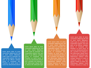 Colorful pencil infographics with tags
