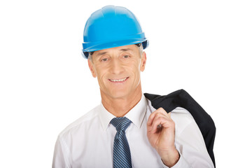 Engineer with jacket over his shoulder